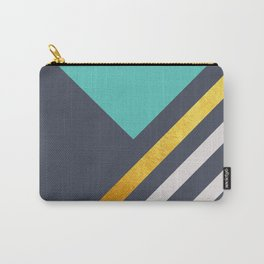 Mint Triangle On Grey With White And Gold Stripes Carry-All Pouch