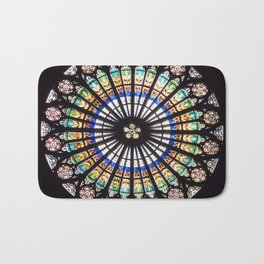 Stained glass cathedral rosette Bath Mat