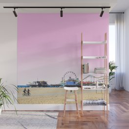 Santa Monica Pier with Ferries Wheel and Roller Coaster Against a Pink Sky Wall Mural