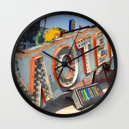 Vintage Neon Sign - Motel Wall Clock