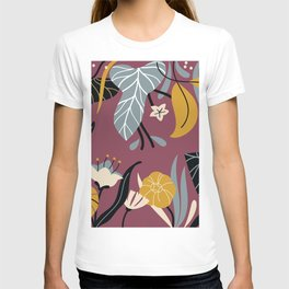 Midnight Jungle Pattern on Plum T-shirt