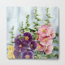 New Mexico Hollyhocks Watercolor Metal Print