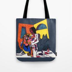 The artist and his artwork Tote Bag