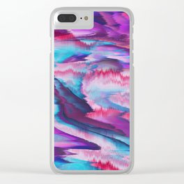 Abstract modern violet pink teal watercolor Clear iPhone Case