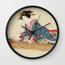 Japanese Lady Playing the Koto Wall Clock