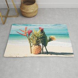 Pineapple Beach Hawaii Tropical Flowers Rug