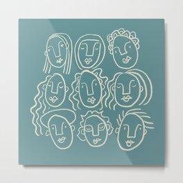 Nine faces (teal palette) Metal Print