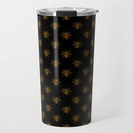 Foil Bees on Black Gold Metallic Faux Foil Photo-Effect Bees Travel Mug