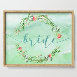 Bride Modern Typography Pink Roses Wreath Serving Tray