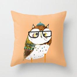 Owl Hipster Throw Pillow
