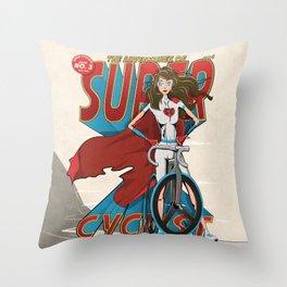 Super Cyclist Throw Pillow