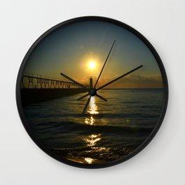 Manistee at Sundown Wall Clock
