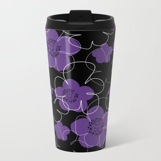 Purple Blooms Metal Travel Mug