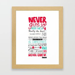 Never Give Up - Dalai Lama XIV Framed Art Print