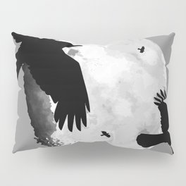 A Murder Of Crows Flying Across The Moon Pillow Sham