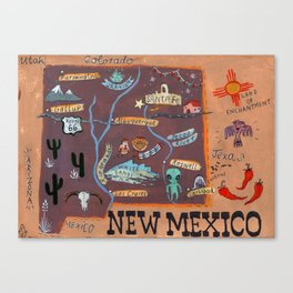 New Mexico map Canvas Print