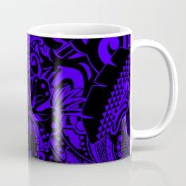 Hawaiian Midnight Blue Tribal Leaves Coffee Mug
