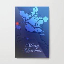 Christmas Snowflake Red Nosed Reindeer Metal Print
