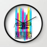 typewriter Wall Clocks featuring Typewriter by Elizabeth Cakovan