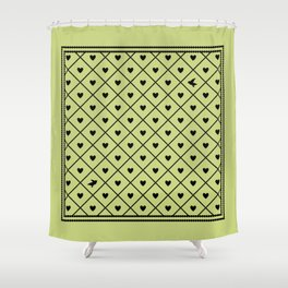 Never Far Away (from the Valentine set) (colors: legally lime) Shower Curtain