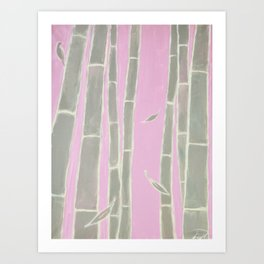 """Morning bamboo"", a pastel-toned canvas painting depicting bamboo trees Art Print"