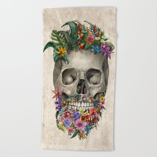 floral beard skull Beach Towel