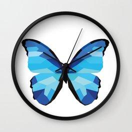 Blue butterfly Low polly artwork Geometric Blues art Wall Clock