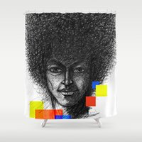 hair Shower Curtains featuring Hair by Nato Gomes