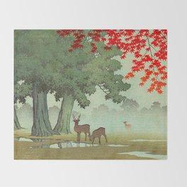 Vintage Japanese Woodblock Print Nara Park Deers Green Trees Red Japanese Maple Tree Throw Blanket