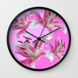 PURPLE & PINK ASIAN LILIES ART Wall Clock