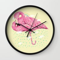 flamingo Wall Clocks featuring Flamingo by dogooder