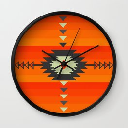 Southwestern in orange and red Wall Clock