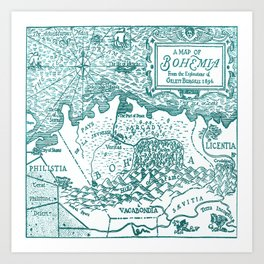 Map of Bohemia (blue) Art Print
