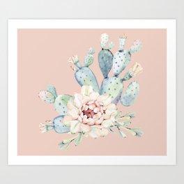 Sweet Pink Rose Desert Cactus Art Print