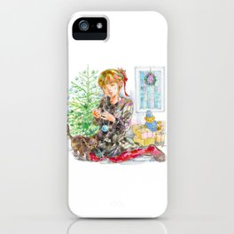 A girl with a kitten at Christmas Time iPhone Case