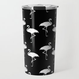 Flamingos Black and White Pattern Travel Mug