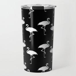 Flamingos Black and White Pattern Travel Mug