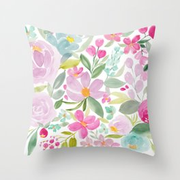 Modern floral watercolor big red pink purple pattern Throw Pillow