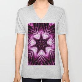 Bright Dark Violet Wine Red Abstract Blossom #purple #kaleidoscope Unisex V-Neck