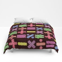 Seamless Colorful Abstract Mathematical Symbols Pattern II Comforters
