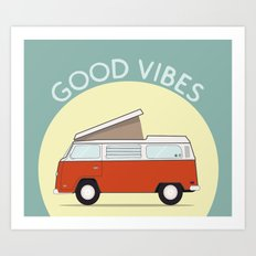 Adventure Mobile Van - Good Vibes Art Print