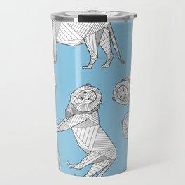 African Animals - Lion Blue Travel Mug
