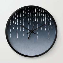 Rhinestone Faux Glitter Line On Dark Blue Wall Clock