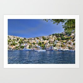 Symi island in Greece. Traditional houses. Sunny day with blue sky and sea. Art Print