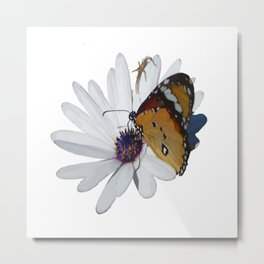 White Daisy and Meadow Brown Butterfly Vector Metal Print