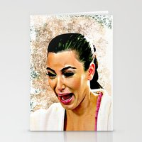 kardashian Stationery Cards featuring Funny Cute Ugly Crying face iPhone 4 4s 5 5c 6, pillow case, mugs and tshirt by Greenlight8