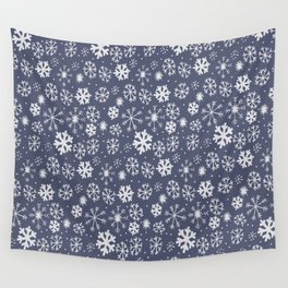 Snowflake Snowstorm In Midnight Blue Wall Tapestry