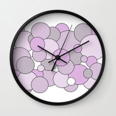 Bubbles - purple, gray and white. Wall Clock