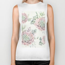 Pink Echeveria Light Green #society6 #buyart Biker Tank
