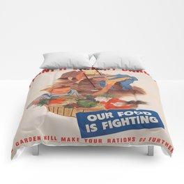 Vintage poster - Victory Garden Comforters
